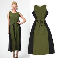 Euramerican High-end Bohemian Empire Chiffon Maxi Dress Woman Fashion Sleeveless Solid Tank Dress For Holiday Round Collar S-5XL