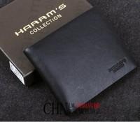 Harrms male wallet men's ultra-thin short design wallet cowhide purse black