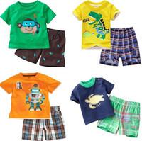 2015 New Hot Summer children's clothing set brand boy child short sleeve T-shirt + shorts 2pcs suit kids cartoon baby clothes