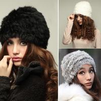 Fluffy Women Russian Cossack 100% Real Rabbit Fur Knitted Hat Head Ski Cap Winter Warm Fur Female Headwear Headdress NEW
