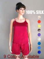 Silk pajama women/100% mulberry silk/Camisole and pants/Solid color/Big promotion/The lowest price guarantee/Whole set