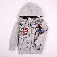 FREESHIPPING A4118# 18M/6Y new fashion printed cartoon spider-man autumn-winter baby boys hoodies with hood