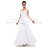 2014 NEW Lady Formal Dress Gown Chiffon V Neck Party Cocktail White US4/6/8/10/12