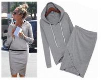 Hot selling Sport Suit Casual Sport Set Tracksuits casual baseball 2pcs/set (Hoodies +Irregular Skirt ) LSP487 Free Shipping