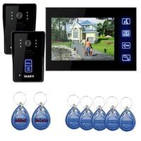 "2 V1 RFID Keyfob 7"" Wired Home Security Video Intercom Door Phone Doorbell System  Door Bell Free Shipping"
