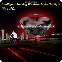 Intelligent LED Bicycle Laser Bike Rear Light 500mw Wavelength 625nm 2x AAA Wireless Braking Warning Taillight