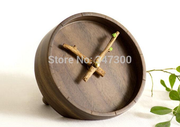 one piece creative desk clock brief black walnut beech wooden(China (Mainland))
