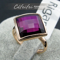 18K Gold Plated Fashion Square Ring for Women Colorful crystelJewelry Weddiing rings