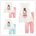 Retail Cartoon helo kitty  children clothing set 2 pcs suit girl's tops shirts + pants whole suits outfits free shipping(China (Mainland))