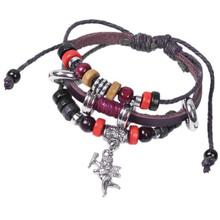 Min. order is $10 (mix order) free shipping 2014 fashion cupid wedding gift beaded bracelet leather bracelet