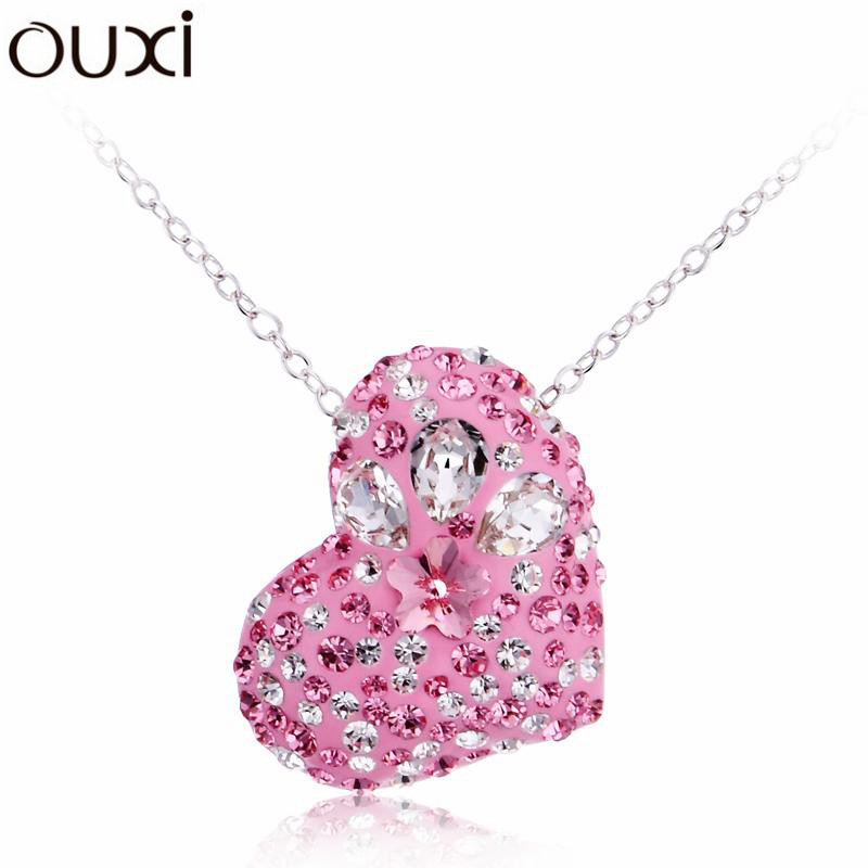Best Crystal & Quality Big Coupon & Discount Pink Strawberry Love Heart Women Necklace Pendant Collar Jewelry Colar OUXI NLA159(China (Mainland))