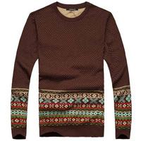 2014 New Arrival Men's Sweater Underwear Shirt Tops Check O Collar Knitted Shirt Casual Outwear Autumn Winter Asia S-XXL D098