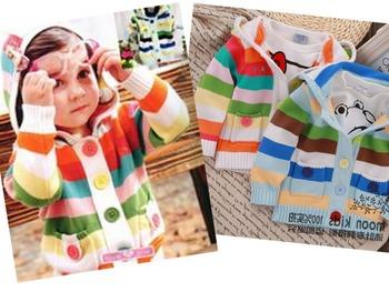 2014 весна дети дети конфеты сладкий красочный свитер полосой кардиган мальчик милые девушки weater бесплатная доставка два цвета
