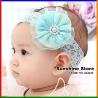 new baby Headband blue lace head band pearl silk flower headband elastic xth123