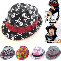 Kids Boy Girls Toddlers Canvas Flat Top Fedora Cap Sun Hat Blues Jazz Dance Show[240824]