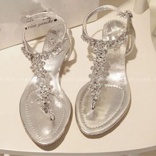 Flat Sandals  Rhinestone Flat Sandals Wedding