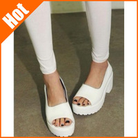 2014 fashion thick heel platform shoes white open toe high-heeled sandals gladiator shoes