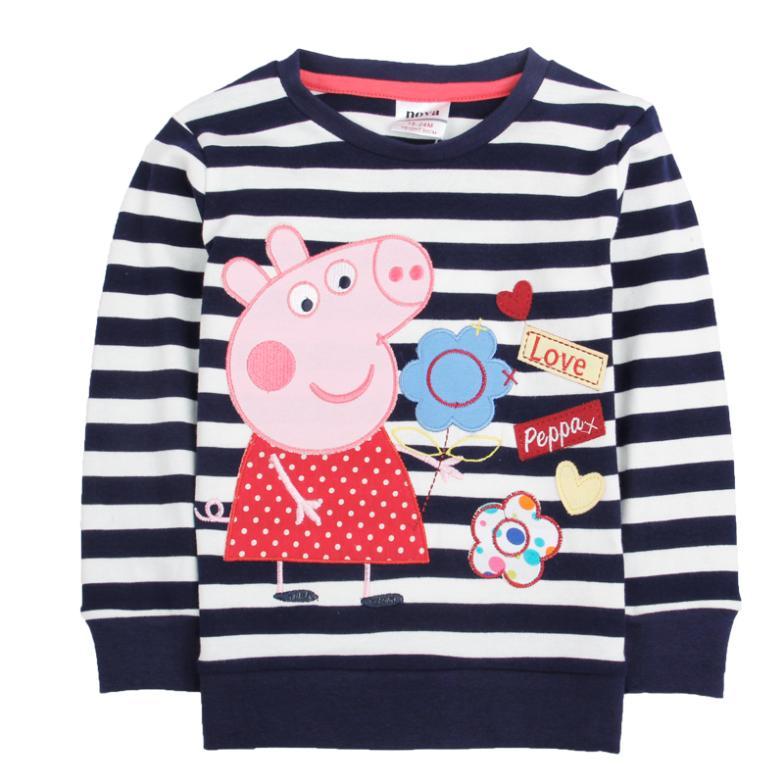 hot sales nova kids wear baby girl 100% cotton peppa pig baby girls' long sleeve t shirt girls clothing 100%cotton print(China (Mainland))