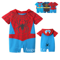 2014 autumn roupa infantil children hooded Spider-Man set kids bady Spider man Short Sleeve conjoined climb boys girls clothes