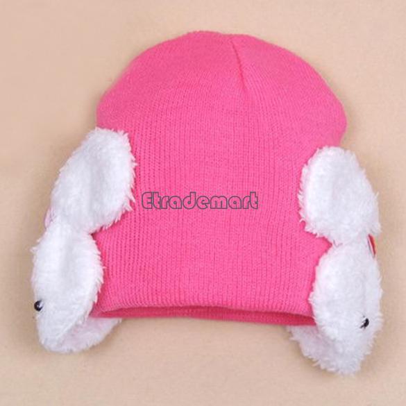 4Colors baby cap Cartoon rabbit Wool infant kids hats Baby Toddler Winter Ear Flap Warm Hat Beanie Cap Crohet Hat 5440(China (Mainland))