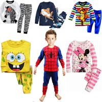 2 pcs set Retail free shipping 2014 new 100% cotton Hello kitty baby pajamas of the children leopard pyjamas kids baby clothing