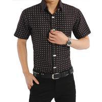 New 2015 Spring Casual Dress Men Short Shirt Brand Male Camisa Masculina Plaid Print Slim Fit Lapel Top Quality Clothing