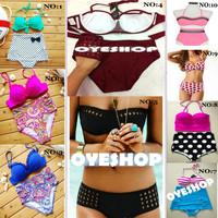 Ladies Sexy Push-up Padded Halter High Waist Waisted Bikini Swimsuit Beachwear Swimwear   S-XL    9 STYLES