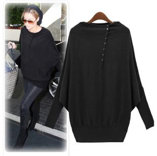 New arrival ! 2014new Plus size clothing long design loose basic shirt cotton batwing shirt women's female long-sleeve Sweaters(China (Mainland))
