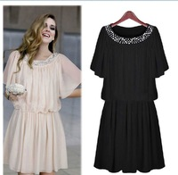 Free Shipping Women's High Quality Pretty Black Female Plus Size Casual Knee Length Short-sleeve Chiffon One-piece Dress LBR2107