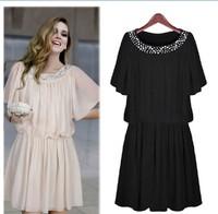 Free Shipping Women's High Quality Pretty Black Female Plus Size Casual Knee Length Short-sleeve Chiffon One-piece Dress LBR2107