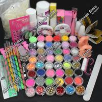 Hot Pro Acrylic Liquid Nail Art Brush Glue Glitter Powder Buffer Tool Set Kit #28