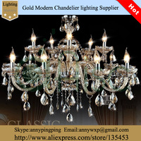 European style New Fashion Crystal Smoky Grey Color LED Chandelier  With 12 lights For Living Room