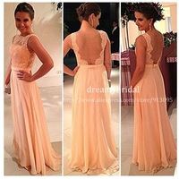 Free shipping! High quality nude back chiffon lace long peach color bridesmaid dress 2014 New arrival brides maid dress for sale