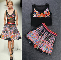 Top Fashion 2014 Summer Runway Catwalk Dress Set  Women  Embroidery  Flower Shirt +Skirt  2Pcs Brand Vintage Silk Dresses