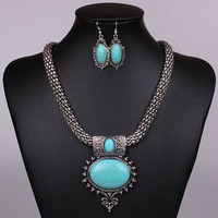 Mesh Chain Vintage Silver Nepal Oval Turquoise Necklace Earring Jewelry Set  2014 Fashion Jewelry Free Shipping