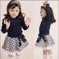 Children clothing set 2pcs set shirts+skirts 100% cotton pear style baby girl dress suit  kids dot sets erbaby