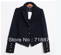 Free shipping Y993 fashion 2013 spring navy Woolen-like coat blue embroidered blazer suit