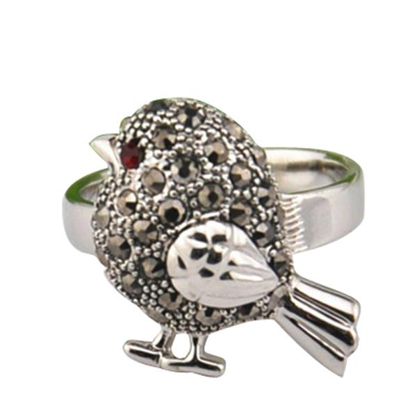 Cute Animal Jewelry Vintage Retro 18K White Gold Plated Bird Ring With Black Rhinestones(China (Mainland))