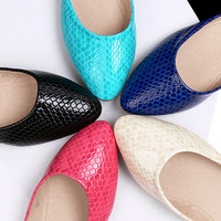 Drop shipping candy color flats Pointed toe flat fashion casual shoes flat heel soft and comfortable plus size women flats shoes