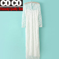 Free shipping!2014 spring summer fashion women  slim V-neck full lace sexy  ultra long women  party casual wedding dress A541
