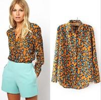 2014 Spring New Fashion Ladies' Orange Blue Leopard print Long-sleeved Casual Chiffon Shirts Women Elegant Stylish Tops 1638