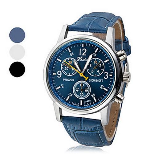 Discount Blue Leather strap Watch men steampunk Vintage Military Watch Women dress sport Quartz wrist watches Steel case Simple(China (Mainland))