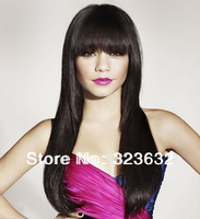 Hotsale fashion human remy hair straight #1b brazilian full lace front wigs with bangs fast shipping