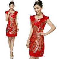 red Chinese Women's Brocade Cheong-sam Mini phoenix pattern Qipao Dress S M L XL XXL S M L XL XXL 99DQP03 free shipping