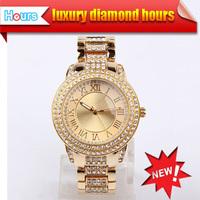 Fashion Clock New 2014 Watches Men Luxury Brand Women Dress Casual Watches Full Rhinestone Rose Gold Diamond Watch Hot Sales