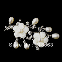 Free shipping! New design wholesale elegant shell flower fresh-water pearl brooch wedding