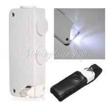 Grátis frete Mini 160X - 200X microscópio portátil Zoom lupa lupa lupa Zoom Lens bolso com luz LED(China (Mainland))