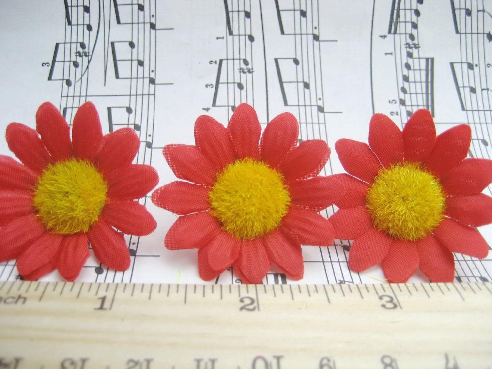 """25pcs red sun flower Artificial Silk Flower Heads Craft Wedding bride home garden decor 1.5"""" sf118(China (Mainland))"""