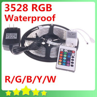 Waterproof 3528 RGB LED Strip 300leds/5M IR Remoter IR Controller 12V 2A Power Adapter Flexible LED Ribbon Free Shipping