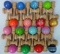 Via Fedex/EMS, 18.5CM  Multicolor Glossy Kendama Ball Japanese Traditional Wood Game Kids Toy PU Paint & Beech, 150PCS